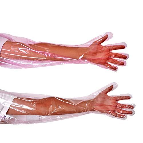 YouU Einweg-Handschuhe aus weichem Kunststoff mit Langen Armen, Tierarzt-Untersuchung, künstliche Insemination Veterinärhandschuhe Für die Untersuchung Oder Besamung (50 Stück/pink)