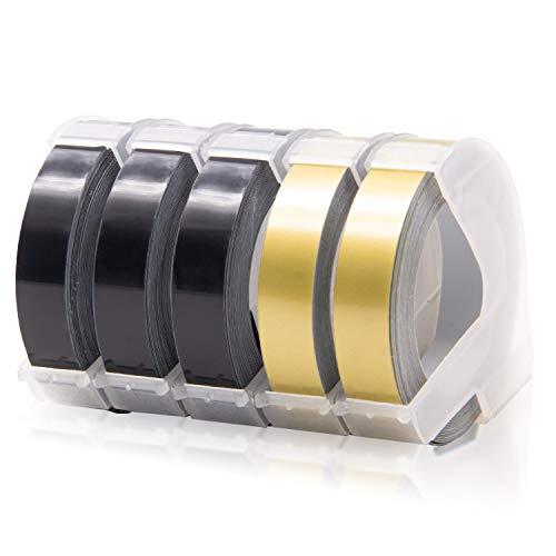 5x Labelwell 9mm Schwarz/Gold Kompatibel 3D Prägeband Ersatz für Dymo Vinyl-Prägeetiketten Selbstklebend für Dymo Omega Etikettenprägegerät Junior Prägegerät Organizer Xpress Pro Motex E-303 E-101