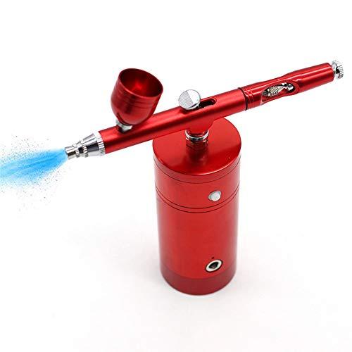LQKYWNA Kit De Aerógrafo De 0.3 Mm 7CC 25PSI, Conjunto De Aerógrafo De Doble Acción Portátil Recargable Portátil Compresor De Aire para Tatuaje, Arte De Uñas, Maquillaje, Decoración De Pasteles (Red)