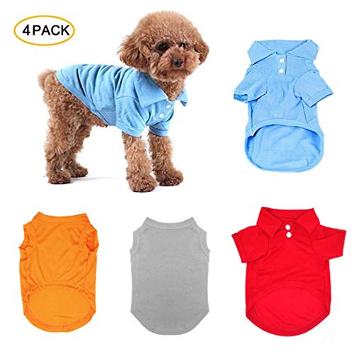 TOLOG 4 Pack Dog T-Shirt Pet Summer Shirts Puppy Clothes for Small Medium Large Dog Cat,Soft and Breathable Cotton Outfit Apparel (Small, Red & & Light Blue & Grey &Orange)