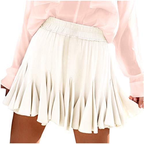 Damen Sommer Weiß Chiffon Minirock Faltenrock Teens College Mädchen Einfarbig Mode Rüschen Hohe Taille Röcke Kurzen Faltenröcke Lässige Party Strand Skirt Boho Plissee Skater Minikleid
