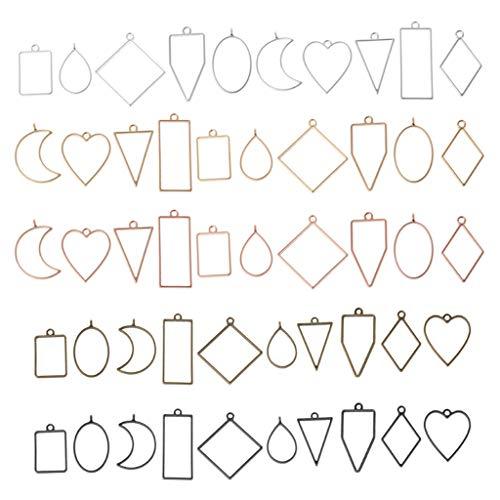 ZJL220 50 piezas de diferentes formas geométricas de bisel abierto de resina para manualidades, marcos de flores prensados