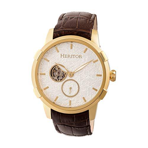 Heritor - Reloj automático Callisto semi esqueleto con correa de piel, color dorado y plateado