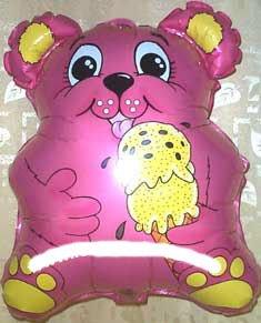 1 Stück 'Eis-Bärchen'-Folienballon Shape, pink, ca. 53 cm, mit LOLLIPOP®-Gasfüllung