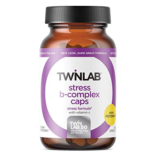Twinlab Stress B-Complex Caps with Vitamin C, 250 Count, Dietary Supplement, Relieve Stress, Boost Energy, Boost Immune System