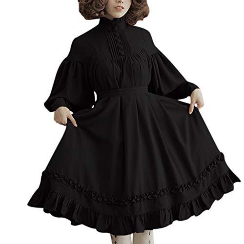 Mittelalterliches Lolita-Kleid mit Laternenärmeln, Retro-Stil, für Damen für Halloween, Cocktail-Party, Renaissance-Hof-, Vintage-, Gothic-Kleider für Cosplay, Übergröße EU 34-48 Gr. XXL, Schwarz