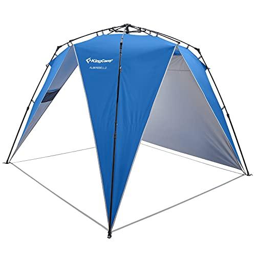 KingCamp Pop Up Pavillon Gartenpavillon Regen- und Sonnenschutz Wasserdicht für 4-6 Personen mit 1x Seitenwand für Party Strände Outdoor Camping Blau