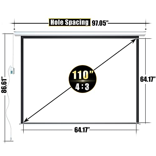 """Aoxun 110"""" Motorized Projector Screen - Indoor and Outdoor Movies Screen 110 inch Electric 4:3 Projector Screen W/Remote Control"""