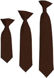 """Solid Brown Boy's 11"""" Clip On Tie"""