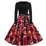 CLOOM Vestidos Mujer Halloween, Ropa de Disfraz Pumpkin & Web Estampado Falda...