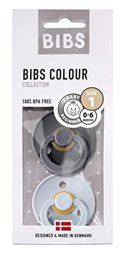 BIBS Schnuller Colour 2er Pack Größe 1 (0-6 Monate), Naturkautschuk, dänische Schnuller mit Kirschform (Iron/Baby Blue, Größe 1 (0-6 Monate))