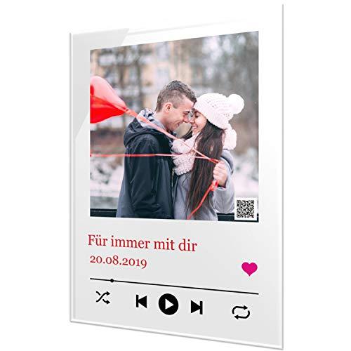 SCHILDER HIMMEL Personalisiertes Cover Musik Bild auf Acrylglas (glasklarer Kunststoff) in verschiedenen Größen mit Wunschbild und Wunschtext
