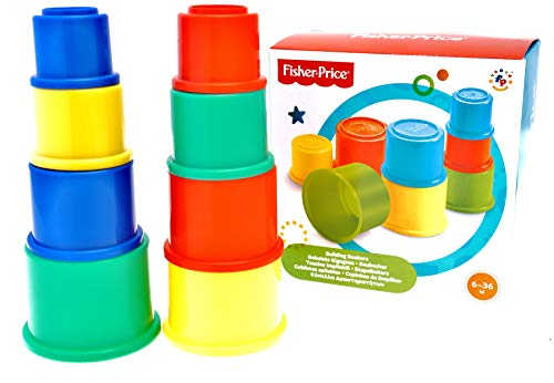 Fisher Price Stapelbecher Stapelturm Stapelwürfel für Kinder zum Spielen und Lernen der Feinmotorik