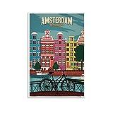 Znimo Vintage Travel Poster Amsterdam Netherlands Poster