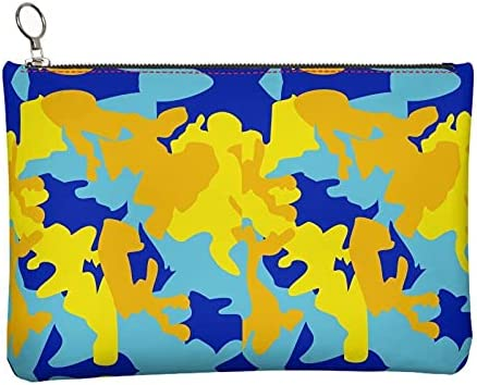 The Fashion Access Abstract Yellow Blue Neon Camouflage Leather Clutch Bag