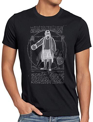 style3 Vitruvianischer Dude Herren T-Shirt Lebowski Bowling Bowler Big, Größe:4XL, Farbe:Schwarz