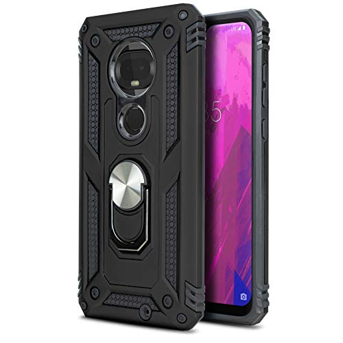 CasemartUSA Phone Case for [T-Mobile REVVLRY Plus (2019)], [Loop Series][Black] Full Rotating Metal Ring Shockproof Defender Cover with Kickstand for T-Mobile REVVLRY Plus (2019)