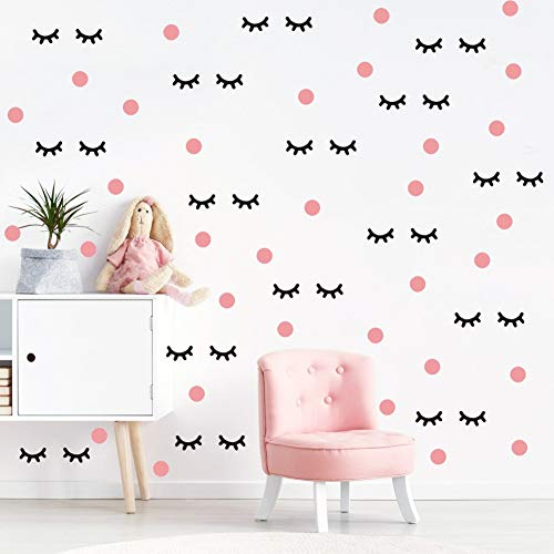 Lovely Eyelash Wall Decal with Pink Dots Wall Sticker (98Pcs), Adorable Sleepy Eye Eyelash Vinyl Decal for Kids Bedroom Decor, Makeup Sticker for Girls Room Wall Art