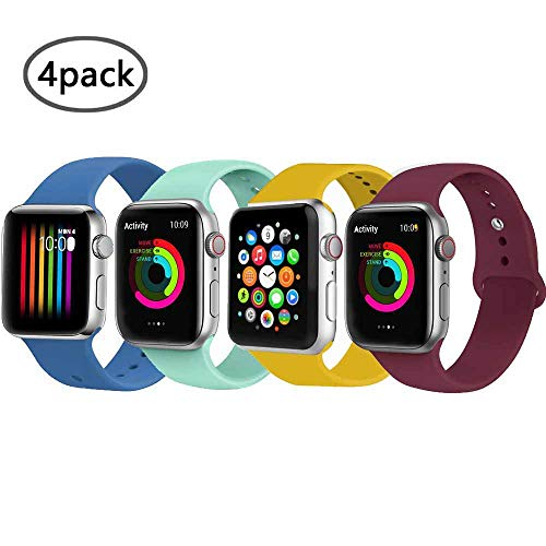 VIKATech Correa de Repuesto Compatible con Apple Watch de 44 mm, 42 mm, 40 mm, 38 mm, Correa de Silicona Suave de Repuesto para iWatch Series 4/3/2/1