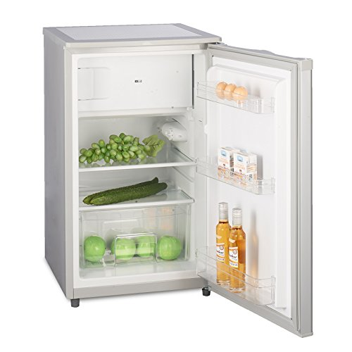 Kühlschrank mit Gefrierfach A++ (90L) 4-Sterne-Gefrierfach (-18 °C) LED-Innenbeleuchtung  Abtauautomatik  höhenverstellbare Glasablagen  Gemüsefach  Türablagen  Silber