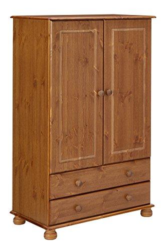 Steens Richmond Kleiderschrank/ Wäscheschrank, 2 Türen, 2 Schubladen, 88 x 137 x 46 cm (B/H/T), Kiefer massiv, gelaugt lackiert