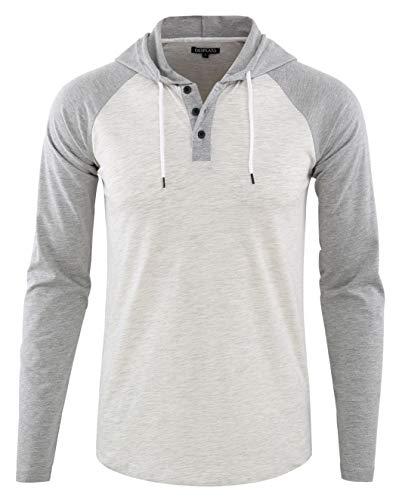 DESPLATO Men's Casual Long Sleeve Lightweight Henley Hooded Shirt Hoodie Jersey Heather Oatmeal/Heather Gray L