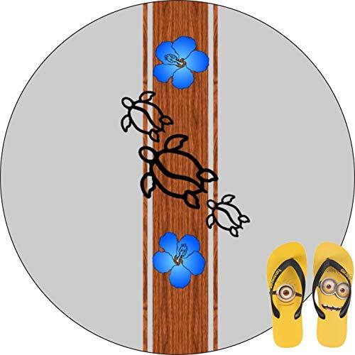 FBCN - Alfombrilla de baño Antideslizante Redonda, Muy Suave, Lavable a máquina, decoración de baño de Cuatro Estaciones (60 cm), Retro Honu Tabla de Surf