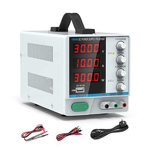 Alimentatore da Laboratorio, 0-30 V / 0-10 Alimentatore CC variabile regolato a commutazione regolabile digitale, con conduttori a coccodrillo e cavo di alimentazione UE