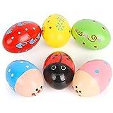 SallyFashion Wooden Percussion Musical Egg Maracas Egg Shakers, 6 PCS, Random Pattern, Halloween...