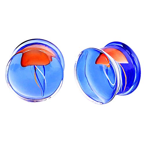 Oyaface 2PC Glass Ear Tapers Plugs 0G-16mm Double Flare Jellyfish Style Gauges Piercing Jewelry Set Style C Blue 0G