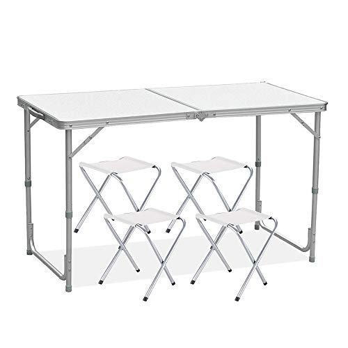 Photo of Folding Table 4FT Ultralight Portable Adjustable Height Folding Camping Table with 4 Chairs for Garden Party/BBQ/Work/Homework – Indoor Outdoor