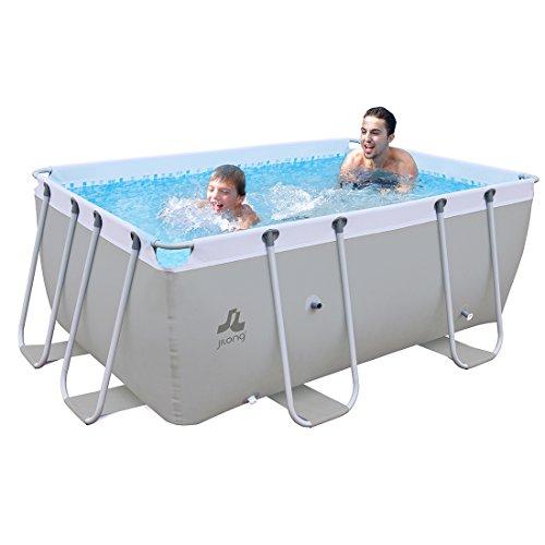 Jilong eckiger Stahlrahmen XL Familien Pool 3x2x1m Stahlrahmenbecken Garten Schwimmbecken Schwimmbad Planschbecken, Grau 404