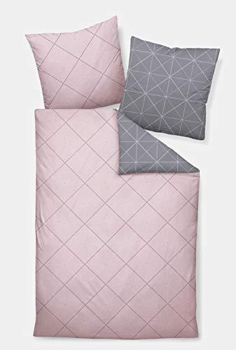 Davos Janine Biber Bettwäsche 2tlg grau rosa 65101-01| Bettwäsche-Set aus 100% Baumwolle | 2 teilige Wende-Bettwäsche 135x200 cm & Kissen 80x80 cm | Geometrisches Muster