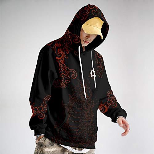 AFASSW Unisex pullover hoodie för klassiska svarta män kvinnor långärmad tröjor med stora fickor, cool hip-hop mode rolig ful plusstorlek för nyårsklänning, företagsfest, M
