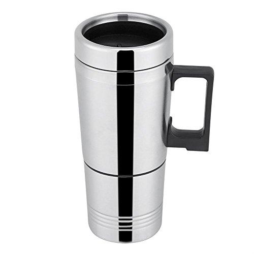 Elektrischer Wasserkocher für Auto, 300 ml, beheizbare Tasse, mit Anschluss an den Zigarettenanzünder, für Auto, Reise, Isolierung, Thermobecher, Kaffeetasse, Geschenk Papa (24 V)