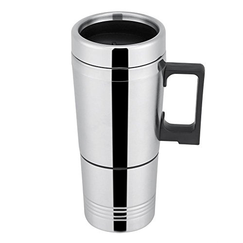 Termo Taza Electrico Calentador para Coche,Termo de cafe para llevar, Taza termica de acero inoxidable para viaje 12V/24V (24V)