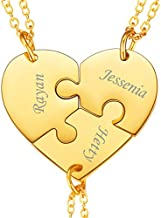 U7 BFF Necklace for 2/3/4/5/6 Stainless Steel Chain Personalized Family Love/Best Friends Friendship Jewelry Set Personalized Engraving Heart Pendants (Set of 3 Gold Customized)