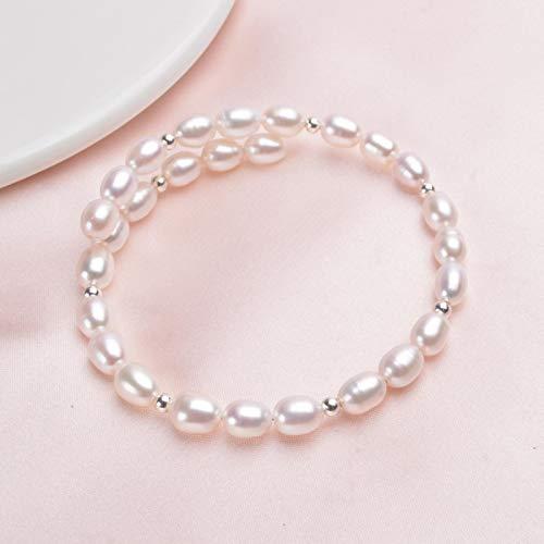 yuge Pulsera de perlas naturales de plata de ley 925, cuentas de 6-7 mm, perlas de agua dulce, regalo de boda para niños blanco