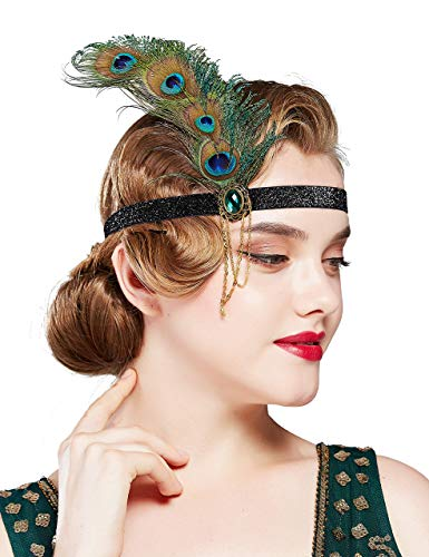 Coucoland 1920s Flapper Feather Hoofdband Pauw 1920s Crystal Hoofdstuk met Ketting Grote Gatsby Kostuum Accessoires Roaring 20's Accessoires Eén maat Peacock Green