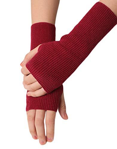 prettystern Gerippte Gestrickte 100% Kaschmir Fingerlose Handschuhe Pulswärmer Damen Stulpen Rot