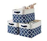 DECOMOMO Foldable Storage Bin   Collapsible Sturdy Cationic Fabric Storage Basket Cube W/Handles (Navy Blue Pattern, Large - 15 x 11 x 9.5-3 Pack)