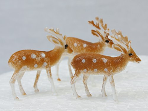 3 x Plastic Reindeer Christmas Cake Decorations