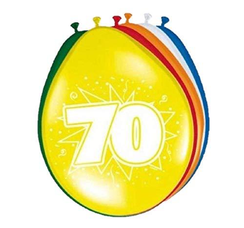 Folat 08270 70. Geburtstag Ballons - 8 Stück, Mehrfarbig
