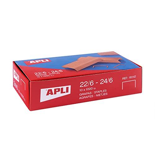APLI 18964 - Pack de 10.000 grapas de cobre galvanizadas no. 22/6-24/6-10 cajitas de 1000 grapas