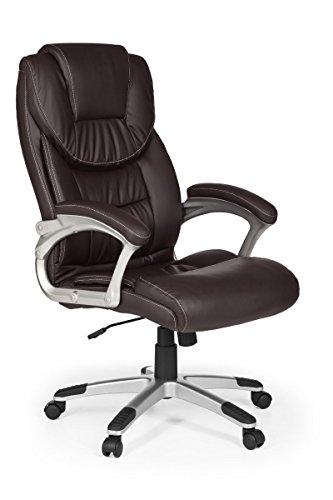 FineBuy Bürostuhl Mady Kunstleder Braun ergonomisch mit Kopfstütze | Design Chefsessel Schreibtischstuhl mit Wippfunktion | Drehstuhl hohe Rücken-Lehne X-XL 120 kg