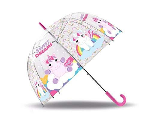 SRV Hub Paraguas transparente para niños, paraguas para niños y niñas POE Brolly para unisex de 3 años con personaje de Disney pintado unicornio Sweet Dreams (Dome)