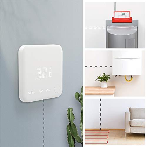 tado° Thermostat Connecté et Intelligent filaire - Kit de Démarrage V3+ – Contrôle intelligent du chauffage, Installez par vous-même,Designed in Germany, fonctionne avec Alexa, Siri & Assistant Google
