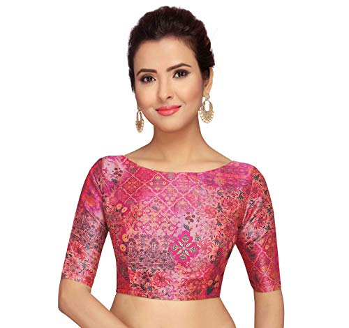 STUDIO Shringaar Pink Abstract Print Readymade Saree Blouse With Elbow Length Sleeves(Pink, 34)