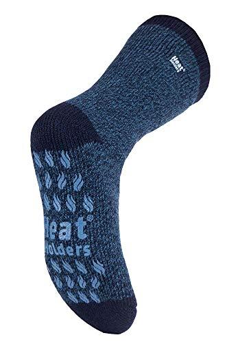 HEAT HOLDERS - Herren Winter Extrem Warm Antirutsch Thermosocken mit ABS (39-45 Eur, Black Twist Slipper)