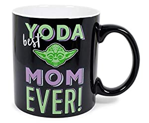 A Mug With A Heart: Show your mom you care with this exclusive Star Wars mug. Inspired by the wise Jedi Grand Master Yoda, this trendsetting drinkware features one of the most iconic characters from a galaxy far, far away. Cute Design: This black cof...